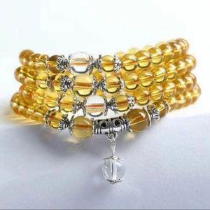 Jewelry - NWT Yellow Crystal Mala Bead Prayer Bracel…